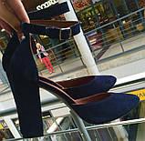 Mante! Красивые женские замшевые черные босоножки туфли каблук 10 см весна лето осень, фото 8