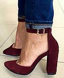 Mante! Красивые женские замшевые босоножки туфли каблук 10 см весна лето осень марсала замша, фото 2