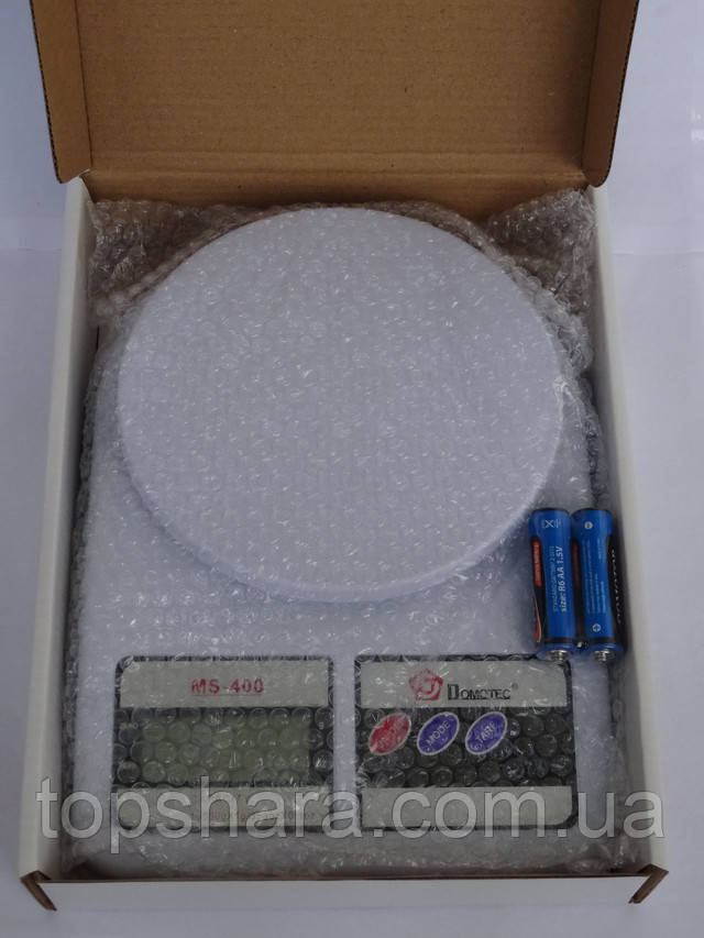 Электронные кухонные весы Domotec MS-400 от 1 грамма  до 10 кг. Цвет белый, точный вес