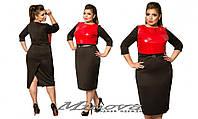 Платье женское дайвинг + вставки из эко-кожи размеры 48-54