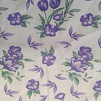 Ситец с фиолетовыми цветочками на белом фоне