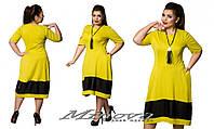 Платье женское с удлиненной спинкой трикотаж + вставка из эко-кожи  размеры 50-58