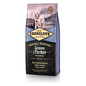 Беззерновой корм Carnilove Лосось и индейка для щенков всех пород, 12 кг