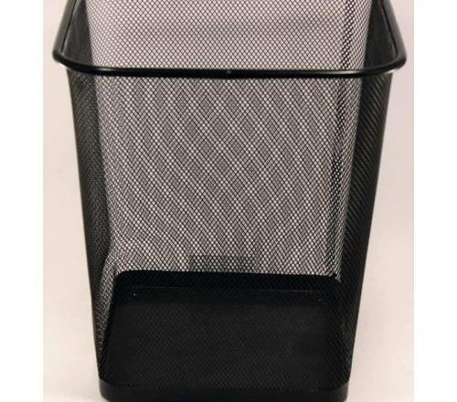 Корзина для бумаг металлическая квадрат черная 025