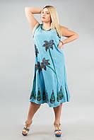 Платье длинное голубое с пальмами, роспись - ручная работа, до 58 р-ра