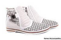 Ботинки летние EuroModa женские натуральная кожа, цвет белый (каблук, перфорация, молния, Турция)