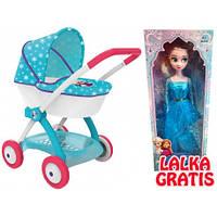 Коляска Smoby Frozen с люлькой и корзиной + кукла в подарок