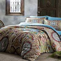 ТАС Digital Paisley turkuaz евро комплект постельного белья сатин