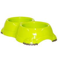 Moderna МОДЕРНА СМАРТИ №1 двойная миска для собак и кошек, 2х645 мл, ярко-зеленый