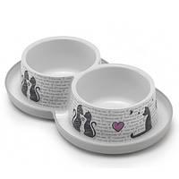 МОДЕРНА двойная миска для кошек, защита от муравьев, дизайн  Влюбленные Коты, 2х350 мл