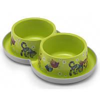 МОДЕРНА двойная миска для кошек, защита от муравьев, дизайн Друзья Навеки, 2х350 мл, зеленый