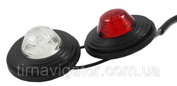 Вставка габаритов рога бело-красная круглая LED (LD424)