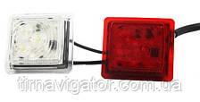 Вставка габаритов рога бело-красная прямоугольная LED (LD448)