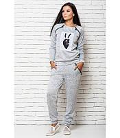 Серый женский спортивный костюм 8001 A-dress 46 размер