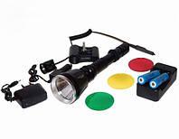 Тактический фонарик Police Q2888-T6, крепление на ствол, акумуляторы, выносная кнопка, две зарядки, светофильт