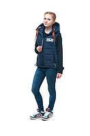 Демисезонная подростковая жилетка для девочки ALN темно-синий, 158