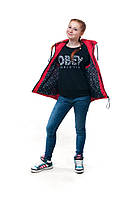 Демисезонная подростковая жилетка для девочки ALN красный, 146