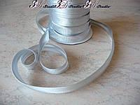 Косая бейка атлас серебряная