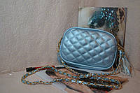 Голубая сумка клатч с стиле Шанель (Chanel)