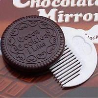 Зеркало - печенье печеньице *я люблю печенье* чёрное с гребнем внутри