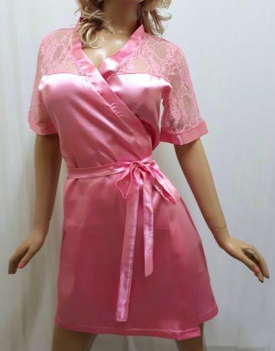 """Атласный элегантный короткий халат с гипюром на плечах """"Сердце Святого Валентина"""""""