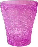 Кашпо стеклянное для орхидей 16 см розовое