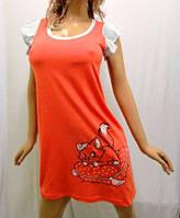 """Туника, ночная рубашка женская """"Кошечка на подушке"""" от 38 до 48 р-ра оранжевая"""