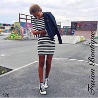 Короткое прямое летнее платье в полосочку