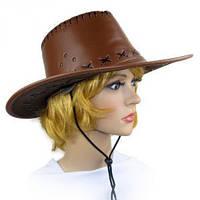 Шляпа Ковбоя кожа коричневая