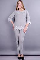 Тэй. Нарядный костюм для дам с пышными формами. Серый., фото 1