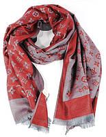 Палантин кашемировый бордово/серый двусторонний Louis Vuitton 8881