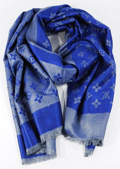 Палантин кашемировый серо-синий двусторонний Louis Vuitton 8881
