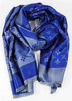 Палантин кашемировый серо-синий двусторонний Louis Vuitton 8881, фото 1
