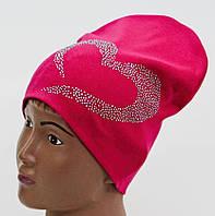 Хлопковая шапочка со стразами на девочку