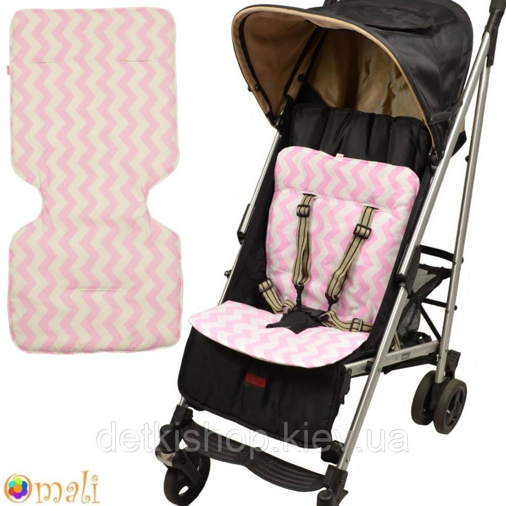 Вкладыш-матрасик в коляску и автокресло («Omali» зигзаг розовый)