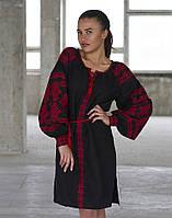Сукня «Подоляночка» льон чорний/червоний