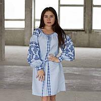 Сукня «Подоляночка» льон блакитний