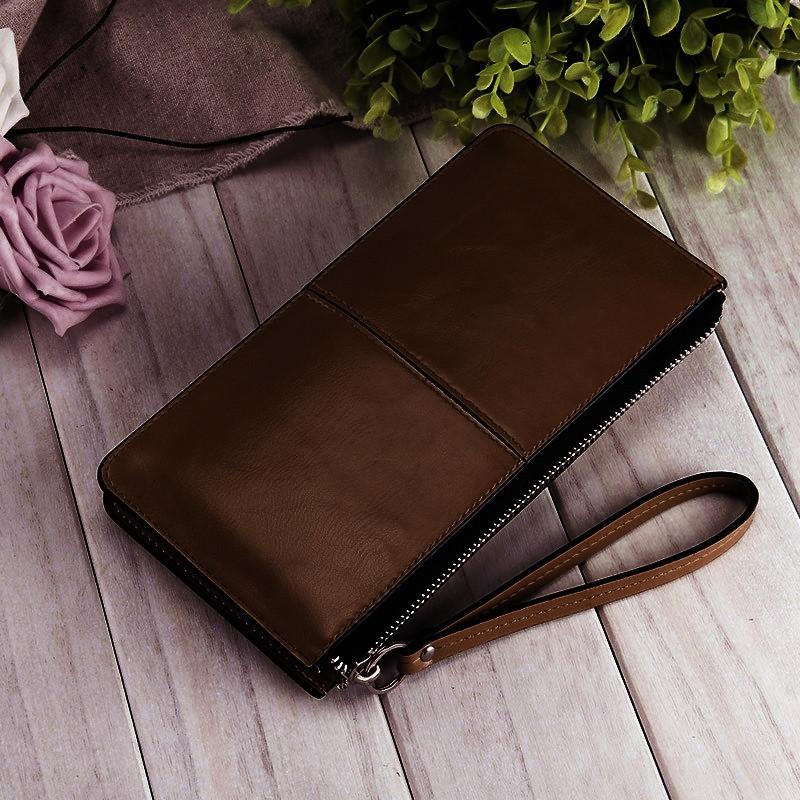 Женский кошелек-напульсник коричневый
