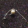Брошь родированная, Классика с жемчугом и цирконием, фото 6