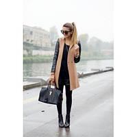 """Пальто женское кашемировое стильное """"Кожа пуговица"""",верхняя одежда женская"""