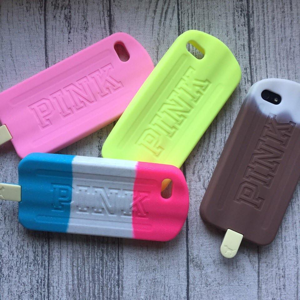 Силиконовый чехол мороженое Pink для iPhone 5/5s/se