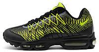 Мужские кроссовки Nike Air Max 95 Ultra (найк аир макс 95) черные/салатовые