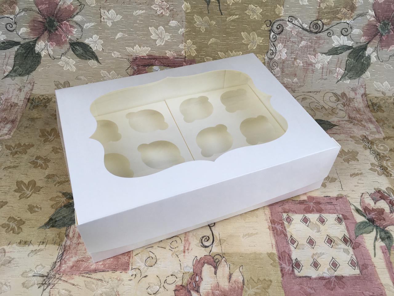 Коробка для 12-ти кексов / 340х250х90 мм / Молочн / окно-обычн