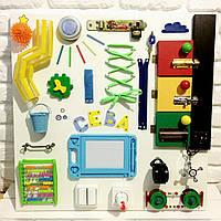 "Развивающая доска именная для детей ""Busy Board"", по методики Монтессори, размер 60х60, материал ДСП"