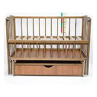 """Детская кроватка Колисковий Світ """"Малятко"""" с ящиком. Цвет: Орех Лесной"""