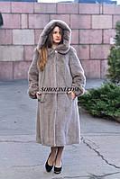 Шуба из меха скандинавской норки, цвет капучино, длина 110 см, в наличии 50,52 размеры