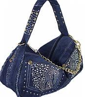 Женская сумка из джинсовой ткани со стразами