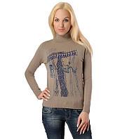 Женский свитер с вешалкой и цепочкой бежевый, фото 1