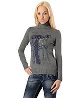 Женский свитер с вешалкой и цепочкой серый