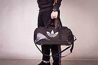 Сумка спортивная, для тренировок, дорожная, через плечо, Adidas мужская черный+серый